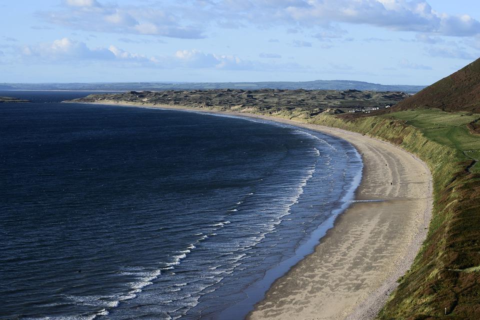 Rhossili beach, sea, landscape