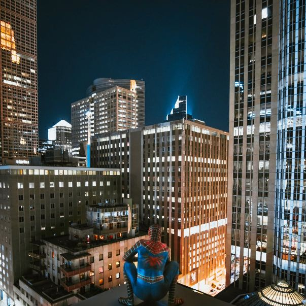Spiderman On Top Of Building