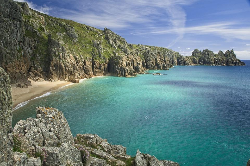beach, cliff, sea, blue sky, clouds